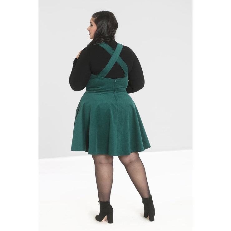 Image of Hell Bunny Wonder Years Pinafore on plus size model - back