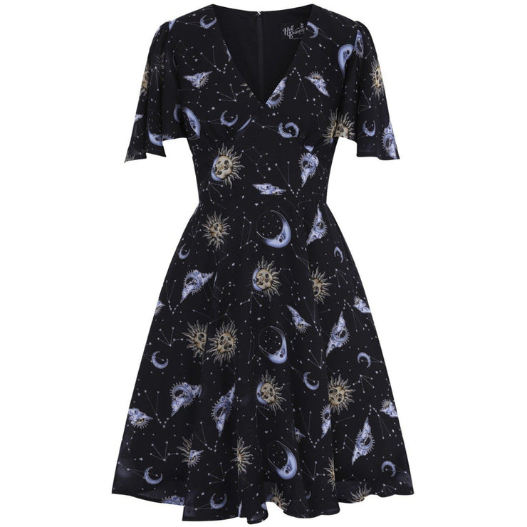 Image of Hell Bunny Solaris Chiffon Dress on invisible mannequin - front