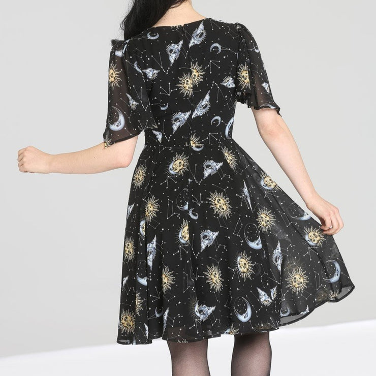 Image of Hell Bunny Solaris Chiffon Dress on standard model - back