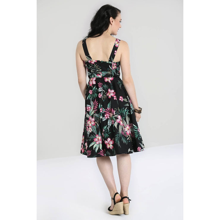 Image of Hell Bunny Kalani 50's Dress - Black on standard model - back