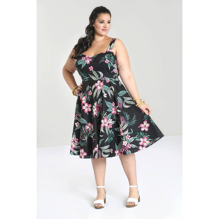 Image of Hell Bunny Kalani 50's Dress - Black on plus size model - front