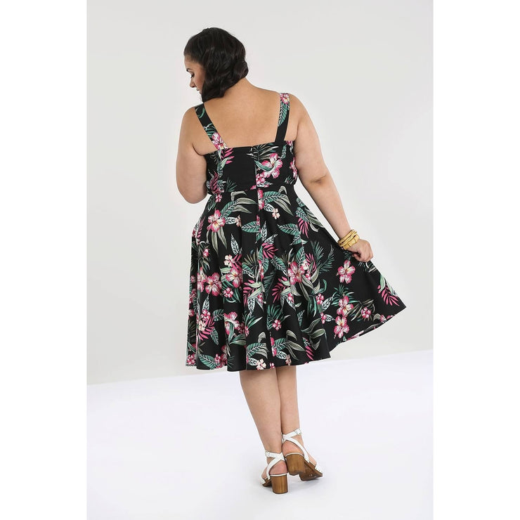 Image of Hell Bunny Kalani 50's Dress - Black on plus size model - back