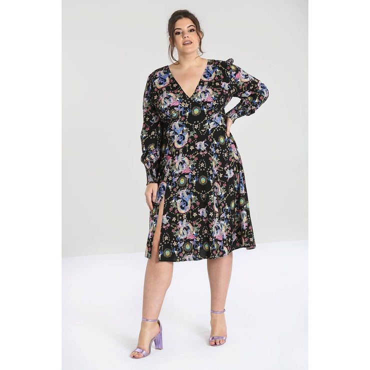 Image of Hell Bunny Moondance Mid Dress on plus size model - front