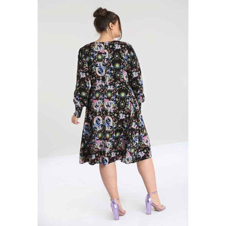 Image of Hell Bunny Moondance Mid Dress on plus size model - back