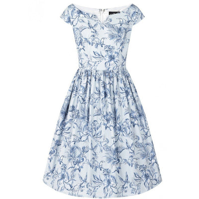 Image of Hell Bunny Brasilia 50's Dress - Blue on invisible mannequin - front