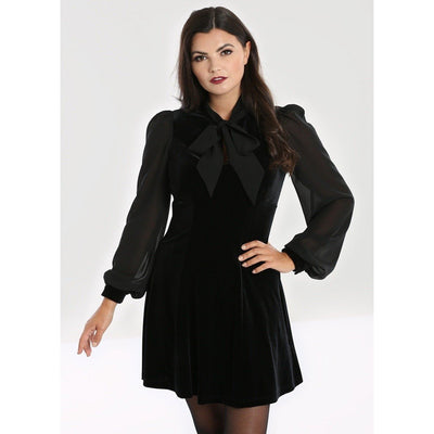 Image of Hell Bunny Gabriella Velvet Mini Dress on standard model - front