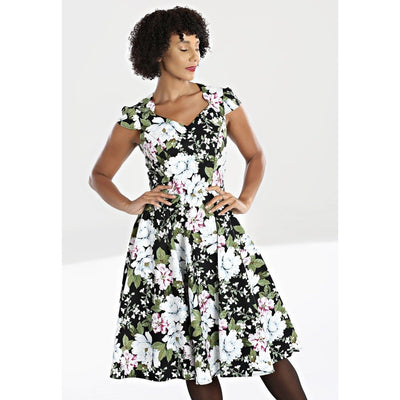 Image of Hell Bunny Alba 50's Floral Dress on standard model - cropped