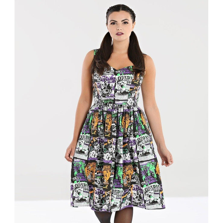 Image of Hell Bunny Be Afraid 50's Dress on standard model - front