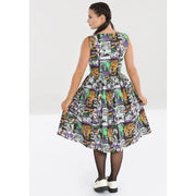 Image of Hell Bunny Be Afraid 50's Dress on standard model - back