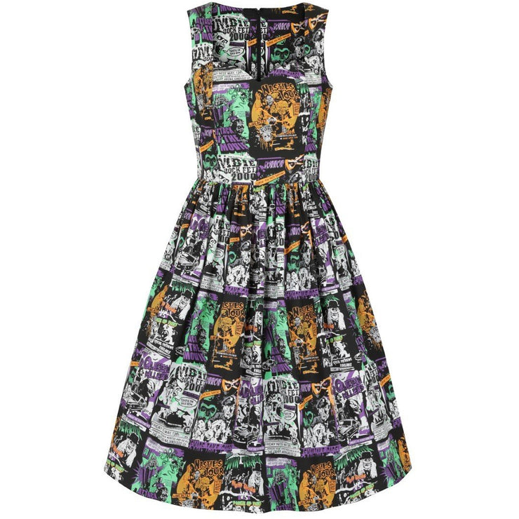Image of Hell Bunny Be Afraid 50's Dress on invisible mannequin - back