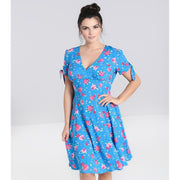 Image of Hell Bunny Chantilly Mid Dress - Blue on standard model - front