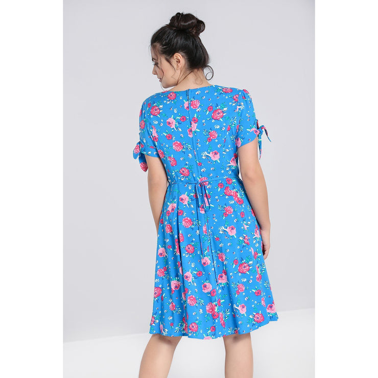 Image of Hell Bunny Chantilly Mid Dress - Blue on standard model - back