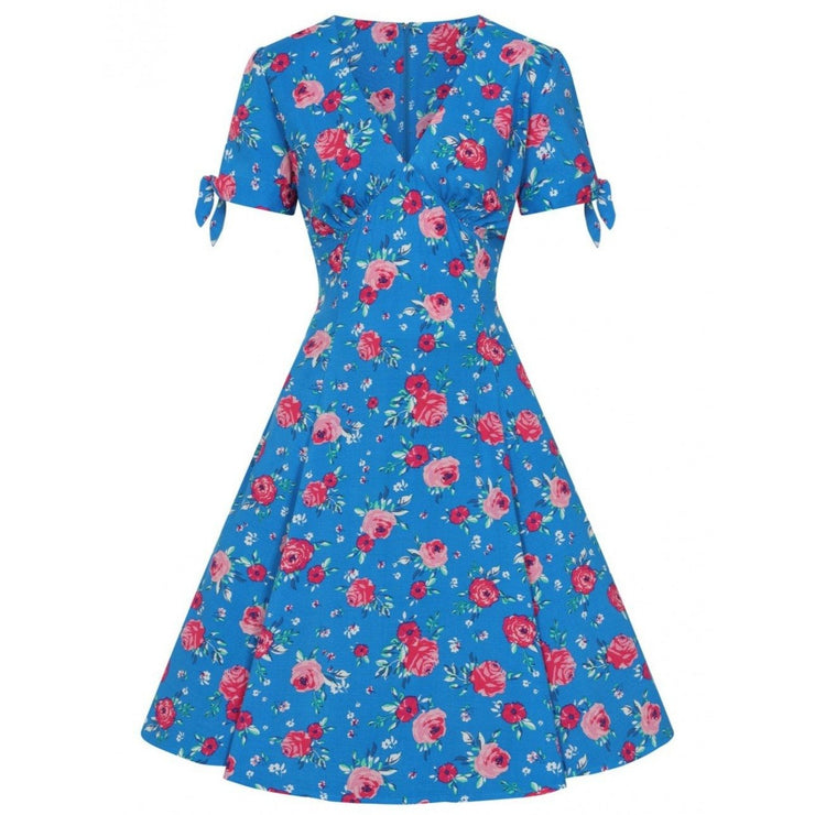 Image of Hell Bunny Chantilly Mid Dress - Blue on invisible mannequin - front