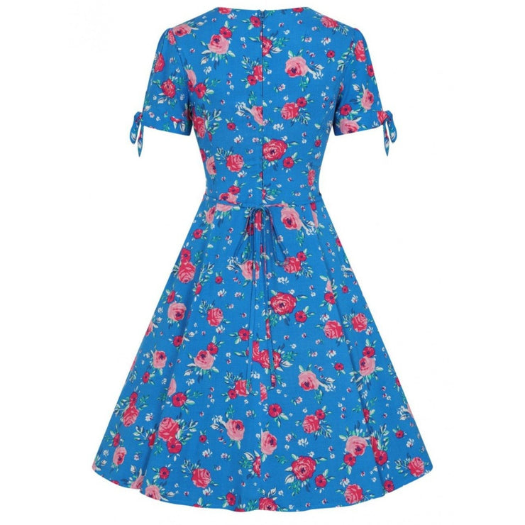 Image of Hell Bunny Chantilly Mid Dress - Blue on invisible mannequin - back