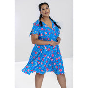 Image of Hell Bunny Chantilly Mid Dress - Blue on plus size model - front