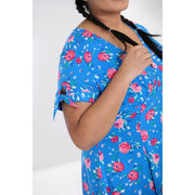 Image of Hell Bunny Chantilly Mid Dress - Blue on plus size model - cropped