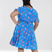 Image of Hell Bunny Chantilly Mid Dress - Blue on plus size model - back