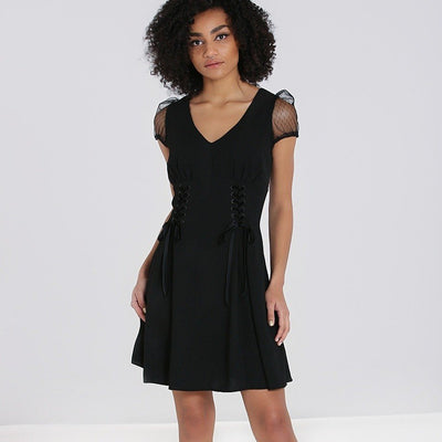 Image of Hell Bunny Belladonna Mini Dress - Black on standard model - front