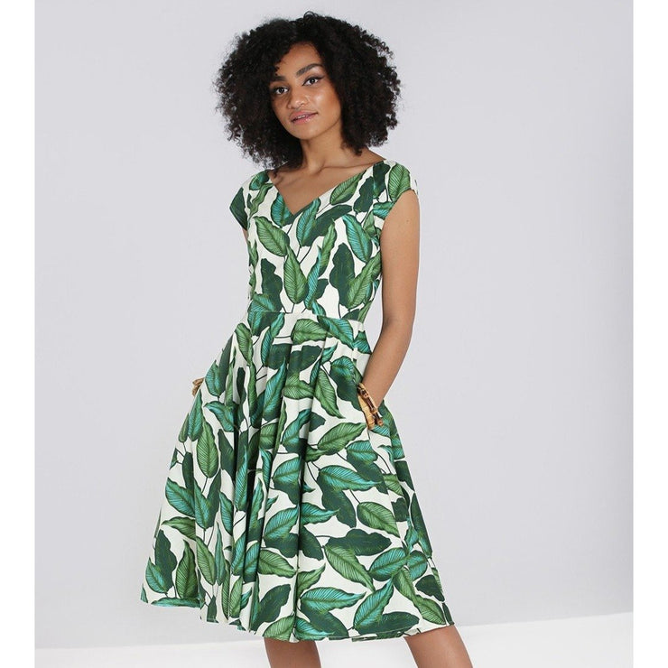 Image of Hell Bunny Rainforest 50's Dress on standard model - front