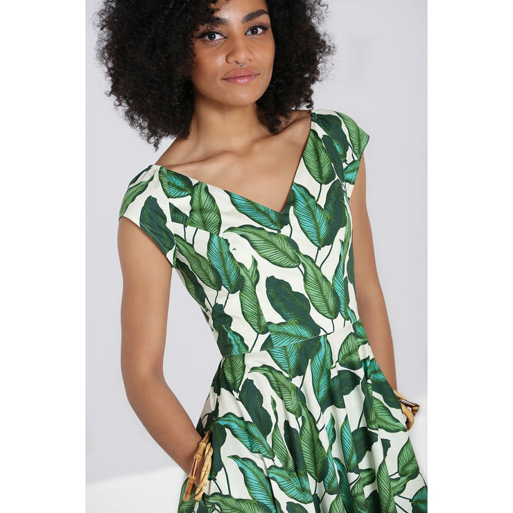 Image of Hell Bunny Rainforest 50's Dress on standard model - cropped