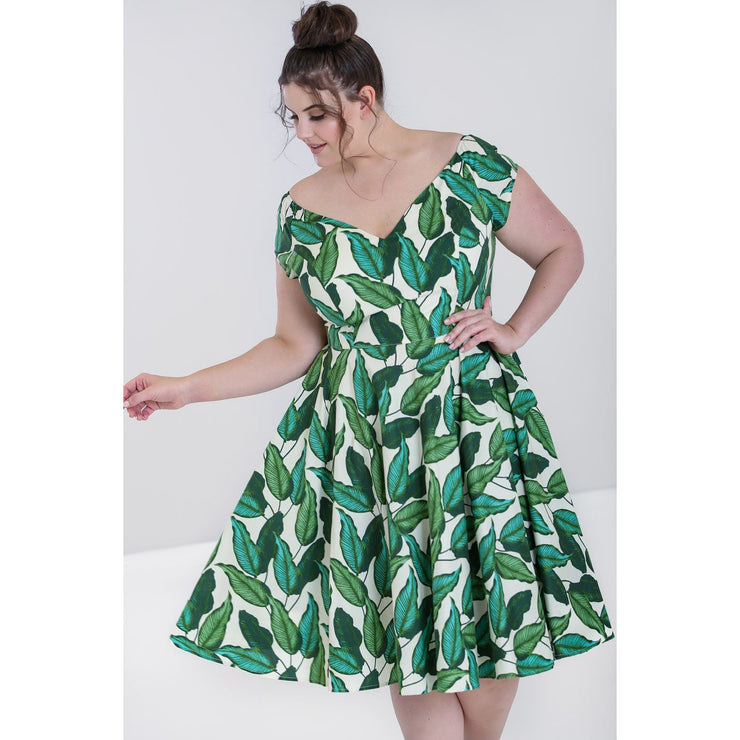 Image of Hell Bunny Rainforest 50's Dress on plus size model - cropped