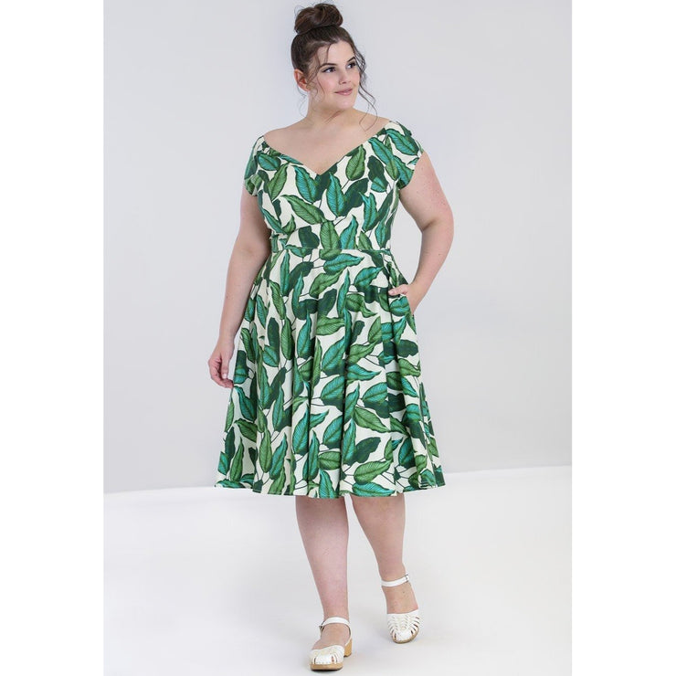 Image of Hell Bunny Rainforest 50's Dress on plus size model - front