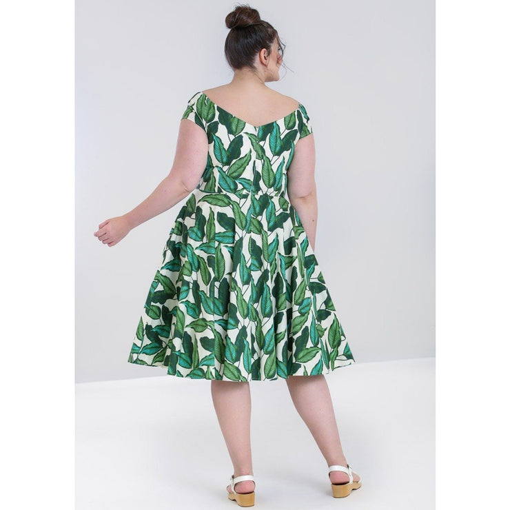 Image of Hell Bunny Rainforest 50's Dress on plus size model - back