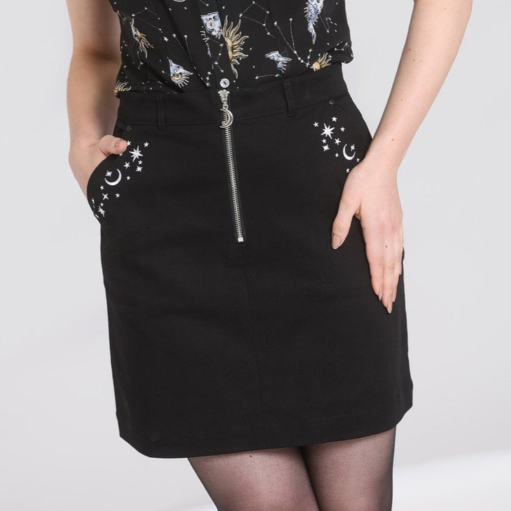 Image of Hell Bunny Interstellar Mini Skirt on standard model - cropped