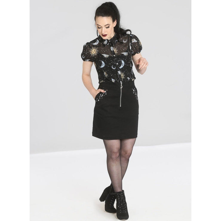 Image of Hell Bunny Interstellar Mini Skirt on standard model - front