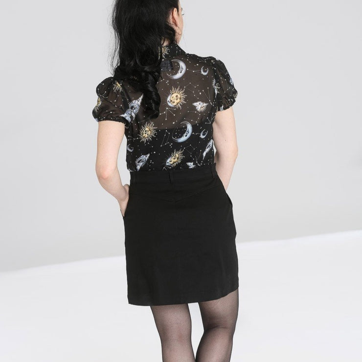 Image of Hell Bunny Interstellar Mini Skirt on standard model - back