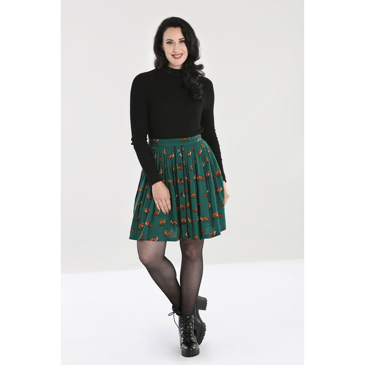 Image of Hell Bunny Vixey Skirt - Green on standard model - front