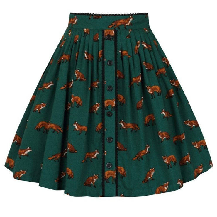 Image of Hell Bunny Vixey Skirt - Green on invisible mannequin - back