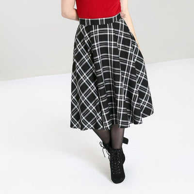 Image of Hell Bunny Islay 50's Skirt - Black/White on standard model - front