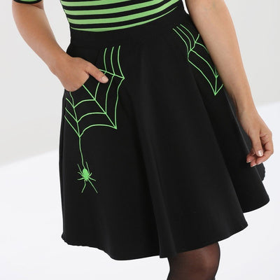 Image of Hell Bunny Miss Muffet Mini Skirt Black/Green on standard model - cropped
