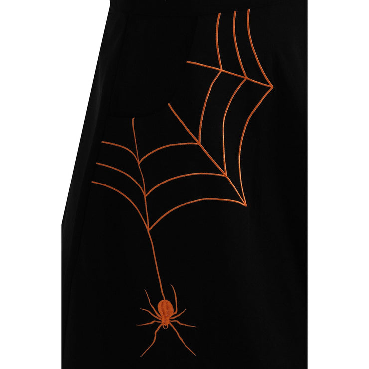 Image of Hell Bunny Miss Muffet Mini Skirt Black/Orange on plus size model - cropped
