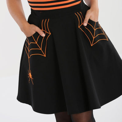 Image of Hell Bunny Miss Muffet Mini Skirt Black/Orange on standard model - cropped