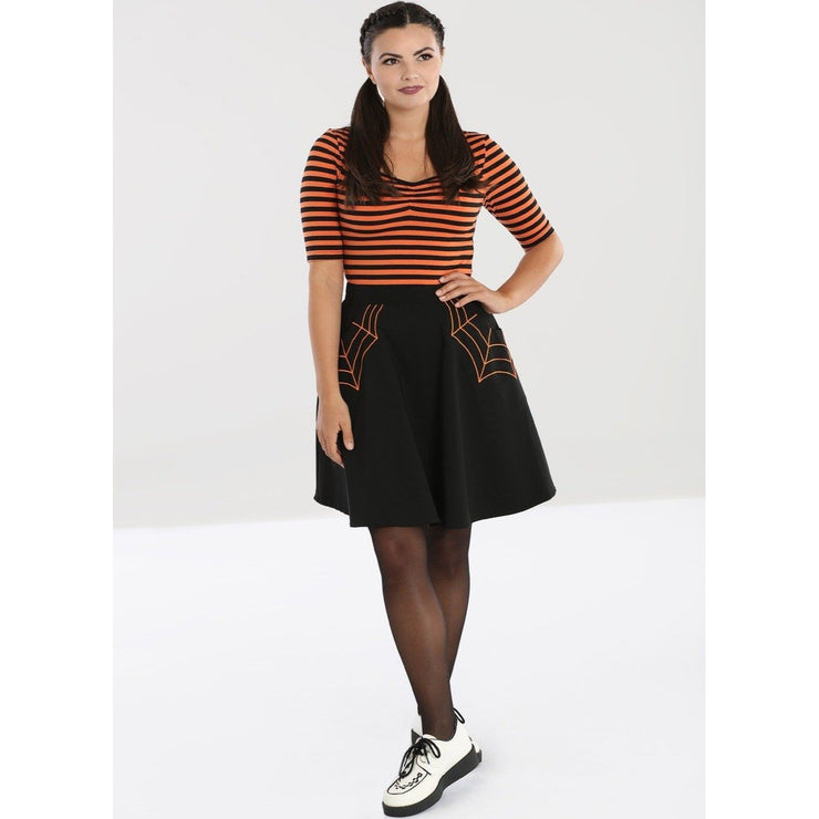 Image of Hell Bunny Miss Muffet Mini Skirt Black/Orange on standard model - front