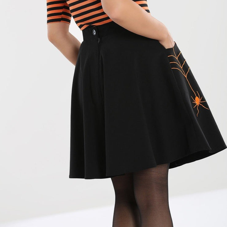 Image of Hell Bunny Miss Muffet Mini Skirt Black/Orange on standard model - back