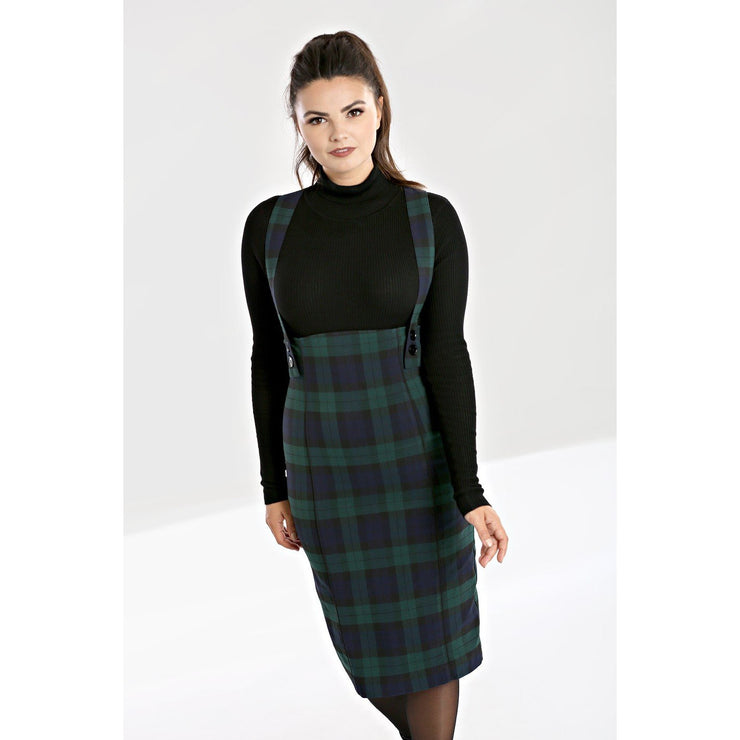 Image of Hell Bunny Evelyn Pinafore Skirt on standard model - front