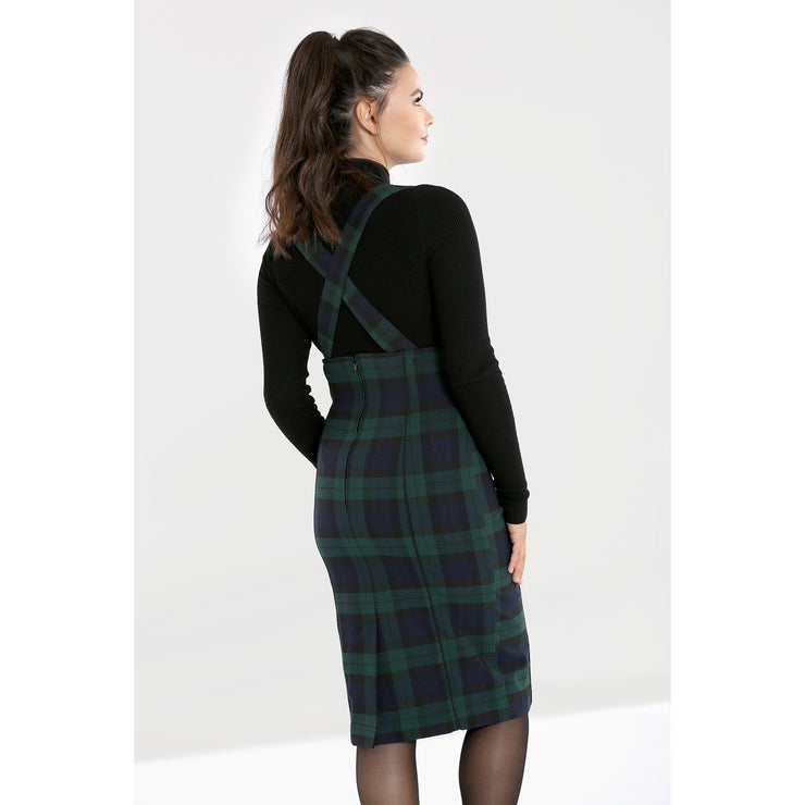 Image of Hell Bunny Evelyn Pinafore Skirt on standard model - back