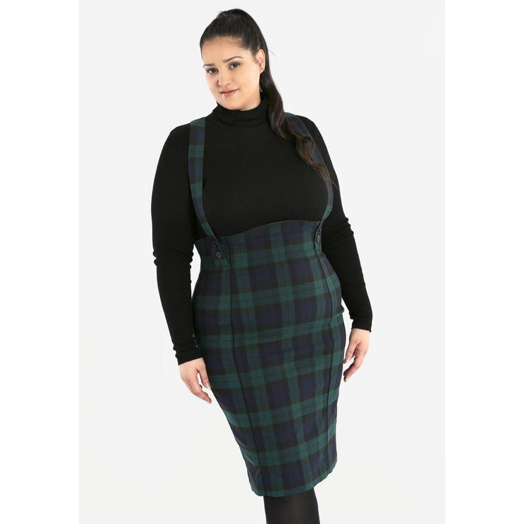 Image of Hell Bunny Evelyn Pinafore Skirt on plus size model - front