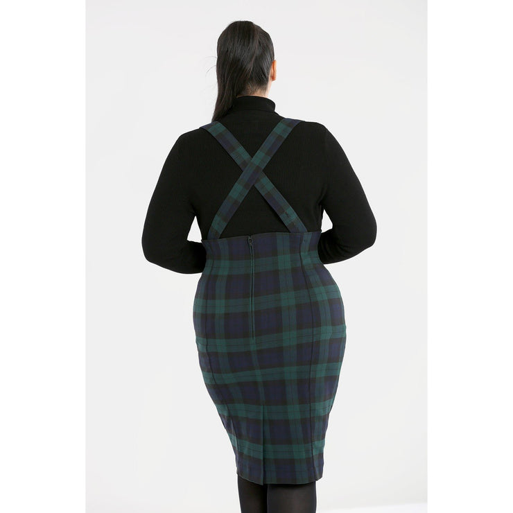 Image of Hell Bunny Evelyn Pinafore Skirt on plus size model - back
