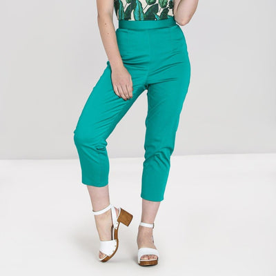 Image of Hell Bunny Helen Cigarette Trousers - Green on standard model - front