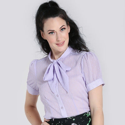 [Special Order] Hell Bunny Frilly Sundae Blouse - Lavender model front