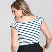 Image of Hell Bunny Dolly Striped Top - Blue/White on standard model - back