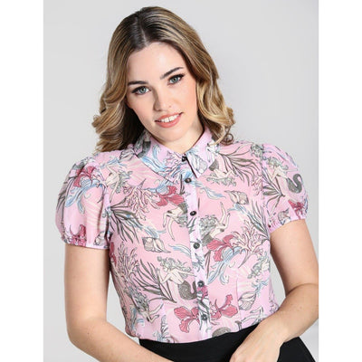 [Special Order] Hell Bunny Attina Blouse - Pink - model front