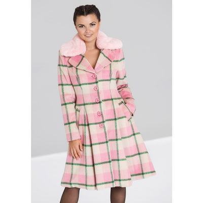 Image of Hell Bunny Millicent Coat - Pink on standard model - front