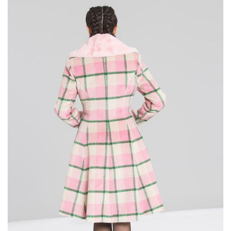 Image of Hell Bunny Millicent Coat - Pink on standard model - back