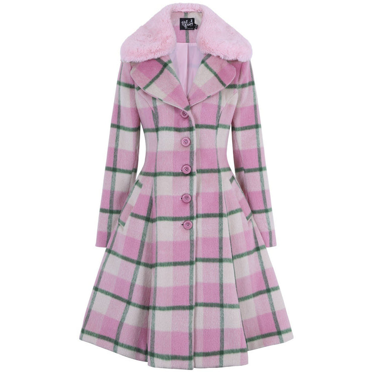 Image of Hell Bunny Millicent Coat - Pink on invisible mannequin - front