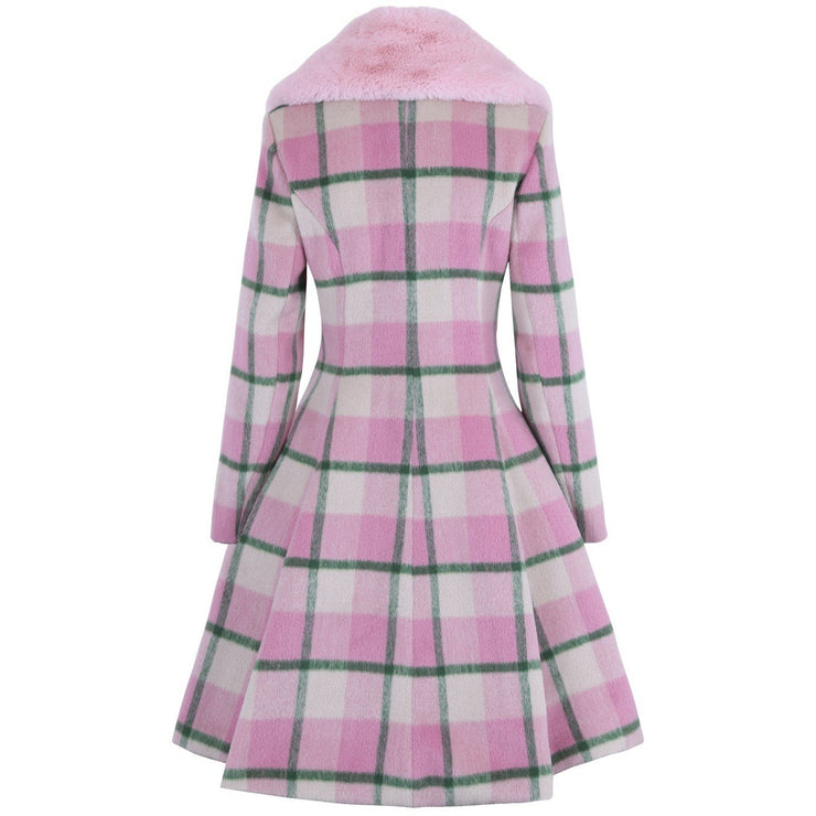 Image of Hell Bunny Millicent Coat - Pink on invisible mannequin - back